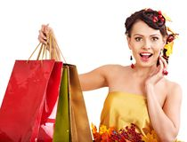 Girl with  fall hairstyle and make up. Royalty Free Stock Images