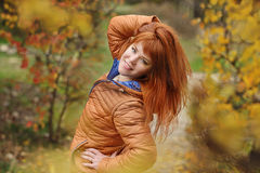 Girl in fall Stock Images