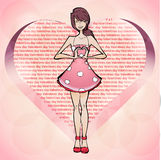 Girl fall in love, valentines day Royalty Free Stock Images