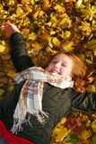 Girl in a fall park royalty free stock photography