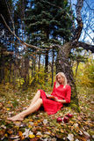 Girl fall  park leaves trees,book Royalty Free Stock Images