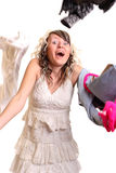 Girl and falling clothes. Amazed girl and her falling clothes around Stock Photo