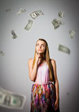 Girl and DOLLARS. Royalty Free Stock Photos