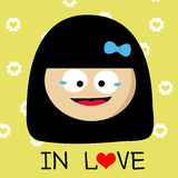 Girl falling in love cartoon Stock Photo