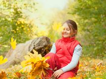 A girl   falling  a maple leaves Royalty Free Stock Images