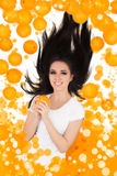Girl Falling with Oranges Stock Images