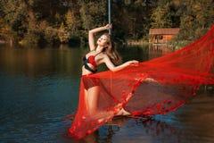 Girl falls dress when she dances. Royalty Free Stock Photos