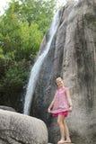 Girl at falls Stock Photos