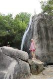 Girl at falls Stock Photo