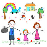 Girl with family drawing picture  illustration Stock Images