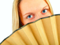 Girl with fan Royalty Free Stock Photos