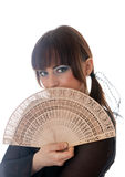 Girl with a fan Stock Photography