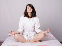 Girl fan direction yoga Stock Images