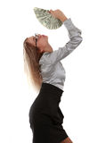 Girl with a fan of dollar bills Stock Photos