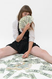 The girl with fan money Royalty Free Stock Photography