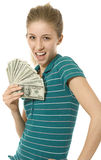 Girl with Fan of Money Royalty Free Stock Images