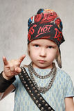 Girl-fan of rock-music Royalty Free Stock Image