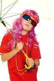 A girl in fancy clothes, umbrella and 3d glasses Stock Images