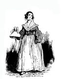 Girl with fancy dress and hat in hand, XIX century engraving Royalty Free Stock Photo
