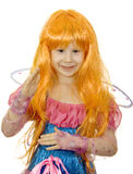 Girl in fancy dress and a wig Royalty Free Stock Photo