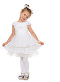 Girl in fancy white dress Royalty Free Stock Photos