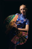 Girl with fans Stock Photos