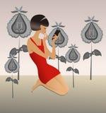 Girl in red dress. Girl in fantastic garden, vector illustration Stock Images