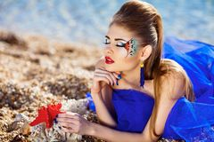 Girl with fantasy make-up Royalty Free Stock Images