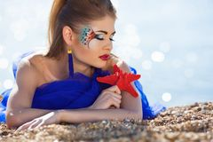 Girl with fantasy make-up Royalty Free Stock Photography
