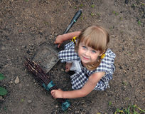 Girl in farm. Young cute girl in farm Royalty Free Stock Image