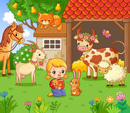Girl on the farm with the animals. Royalty Free Stock Image