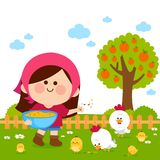 Girl at the farm feeding the chickens. royalty free illustration