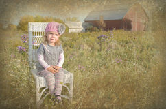 Girl in farm field Royalty Free Stock Photography