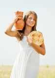 Girl with  farm-style meal Royalty Free Stock Photo