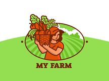 Woman farmer with basket of vegetables and fruits. vector illustration
