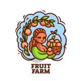 Girl farmer with a basket of fruit. stock illustration