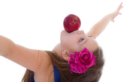 Girl, fashion, apple and rose Stock Photography