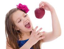 Girl, fashion, apple and rose Stock Photos