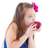 Girl, fashion, apple and rose Royalty Free Stock Image