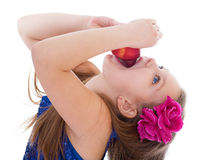 Girl, fashion, apple and rose Royalty Free Stock Photos