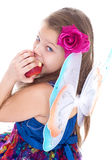 Girl, fashion, apple and rose Royalty Free Stock Images