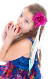 Girl, fashion, apple and rose Stock Image