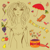 Girl with fashion autumn design elements Royalty Free Stock Photography