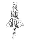 Girl fashion black. Vector fashion model. Vector sketch silhouette. Dress pencil sketch. Vector fashion outline. Black fashion background Royalty Free Illustration