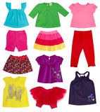 Girl fashion colorful clothes.Isolated. Royalty Free Stock Photography