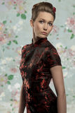 Girl with fashion Japanese dress Royalty Free Stock Photo