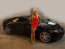 Girl-Fashion Model Auto-show Transportation Luxury Stock Photos