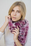 Girl in fashion scarf Royalty Free Stock Photos