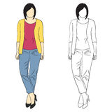 Girl fashion sketch Royalty Free Stock Photography