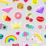 Girl fashion stickers patches cute colorful badges fun cartoon icons design doodle element trendy print vector Stock Photos